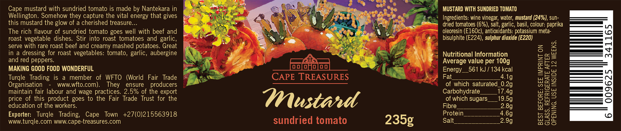 Cape Treasures Sundried Tomato Mustard label