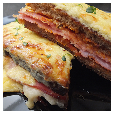 Cape Treasures Mustard with Sundried Tomato: Croque Monsieur Sandwich