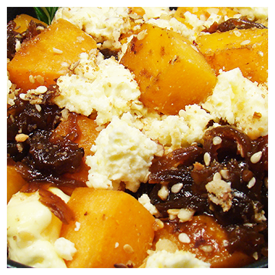 Cape Treasures Red Onion Relish picture of recipe for Roast Butternut with Feta, Macadamia & Dukkah Spice.