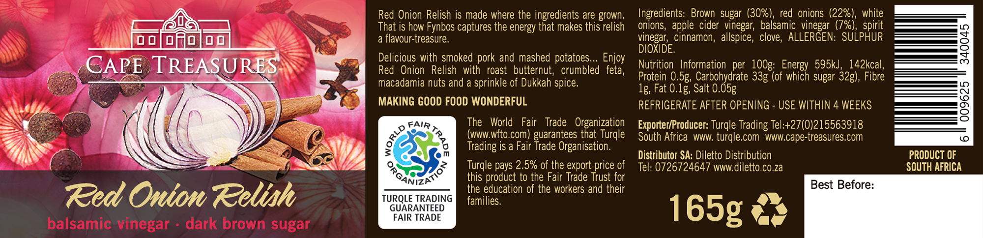 Product label of Cape Treasures Red Onion Relish