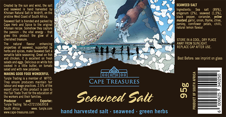 Cape Treasures Khoisan Natural Salt: Seaweed Salt label