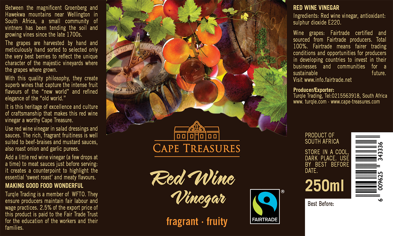 Cape Treasures red Wine Vinegar Label.