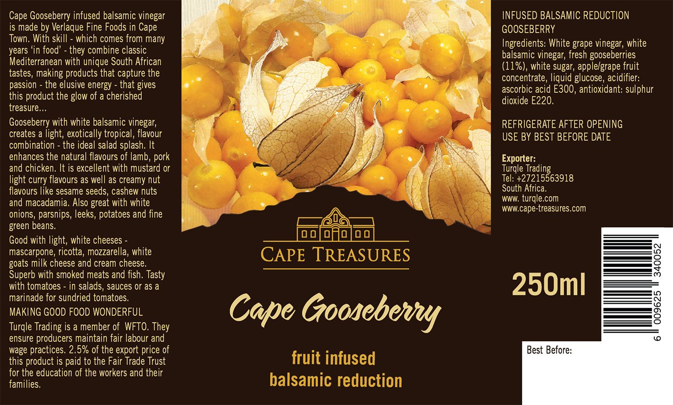 Cape Treasures Balsamic Vinegar Infused with Gooseberry: Product Label