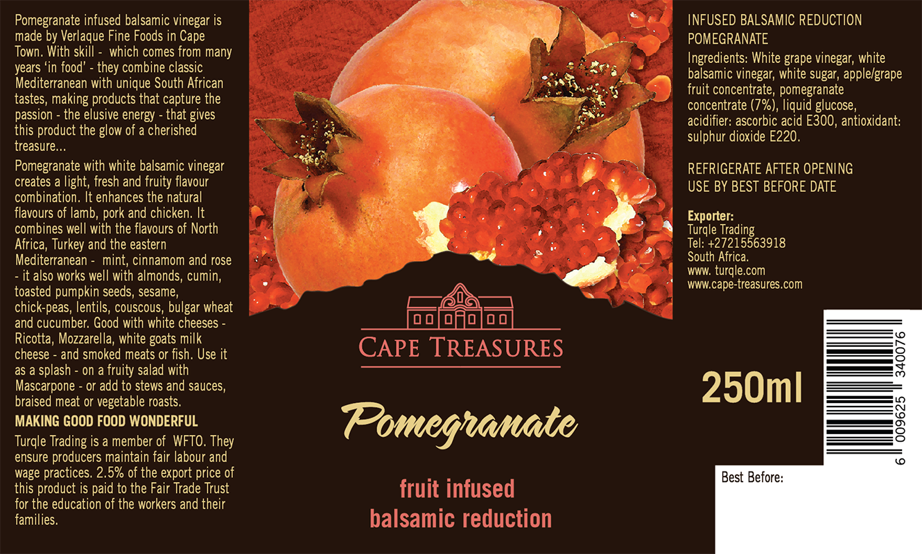 Cape Treasures Balsamic Vinegar infused with Pomegranate product label