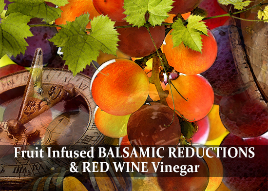 Cape Treasures Vinegar image link to the Fruit Infused Balsamic Reductions & Vinegar products page